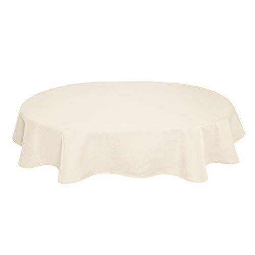 Tischdecke Leinenoptik Leinen Lotuseffekt Wasserabweisend Lotus Oval 160x260 cm Champagner