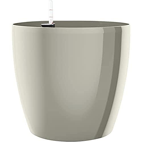 Emsa Sistema de autorriego, diseño de Maceta con Flor, Ø 30cm, Seda Gris, casa Brilliant, 517570