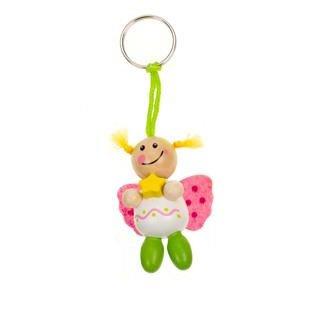 240879 Schutz(b)engel ll Schlüsselanhänger aus Holz, Glücksengel, Schutzengel, 1 Stück (Mädchen - Weiß/Grün/Pink)