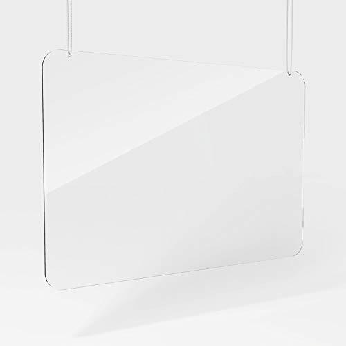 Plexiglas-muur, plexiglas-bescherming, beschermschijf, plexiglasruit, plexiglas beschermwand 75 x 50 cm, hangend
