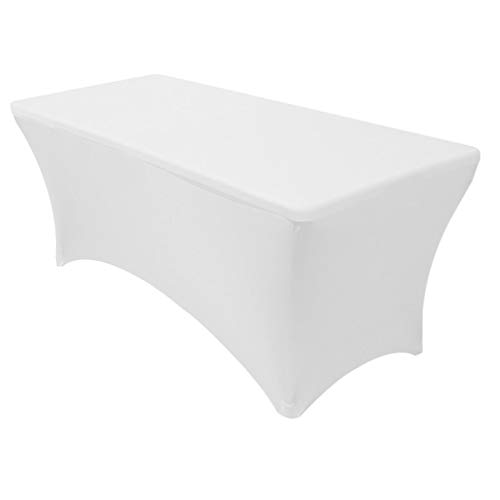 Your Chair Covers - 6 ft Rectangular Fitted Spandex Tablecloths Patio Table Cover Stretchable Tablecloth - White