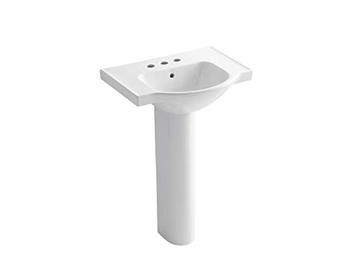 KOHLER K-5266-4-0 Veer Pedestal Bathroom Sink with 4-Inch Centerset Faucet Holes, 24-Inch, White