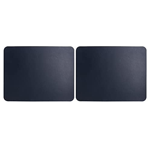 Alfombrilla para ratón, 2 uds., Alfombrilla para ratón de cuero PVC de 27x21 cm, protector de alfombrilla de escritorio impermeable para escritorio, serie Deep Color, apto para ratones (azul oscuro)