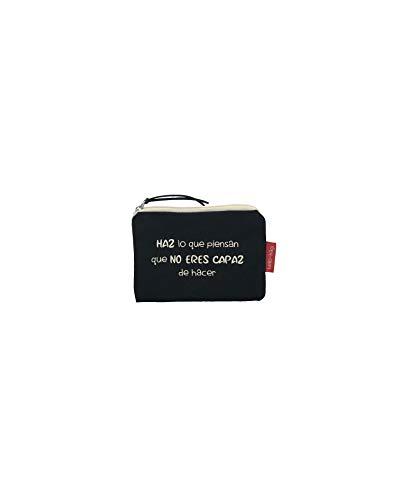 Hello-Bags Bolso Monedero/Billetero/Tarjetero, Algodón 100%, con Cremallera y Forro Interior, Incluye sobre Kraft de Regalo, Negro, 14 x 10 cm