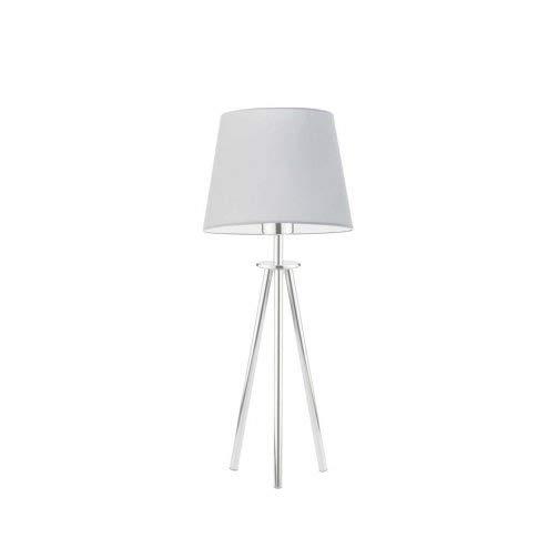 Bergen - Lámpara de escritorio con pantalla de lámpara, color gris claro, marco de acero cepillado
