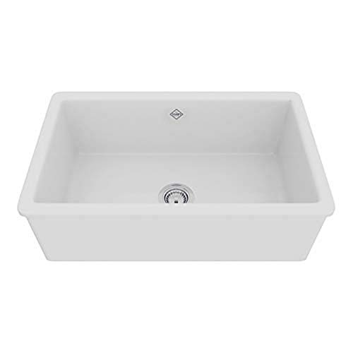 Rohl UM3018WH Shaws Classic 30-Inch Single Bowl Modern Undermount Fireclay Kitchen Sink, White