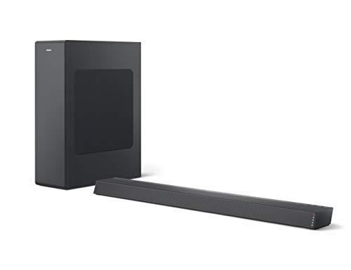 Philips B6305/10 Soundbar Bluetooth mit Subwoofer kabellos (2.1 Kanäle, 140 W Ausgangsleistung, Dolby Audio, HDMI ARC, Schlankes Design inklusive Wandhalterung) Schwarz - 2020/2021 Modell
