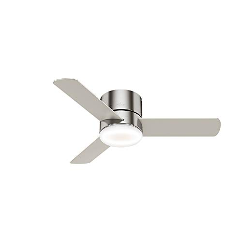 """Hunter Minimus Indoor Low Profile Ceiling Fan with LED Light and Remote Control, 44"""", Brushed Nickel"""