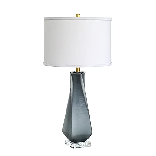 liushop Bedside Table Lamp Bedroom Bedside Table Lamp Modern Glazed Craft Lamps Suitable for Hotel Showroom Hall Living Room Glass Table Lamp E27 Desk Lamp (Color : B, Size : Button switch)