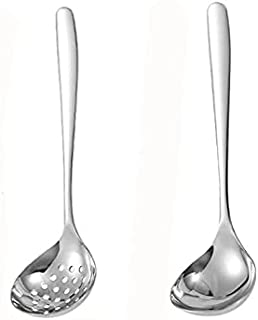 MBBITL Soup Ladle Skimmer Slotted Spoon Set Stainless Steel Strainer Gravy Colander Hot Pot - Silver
