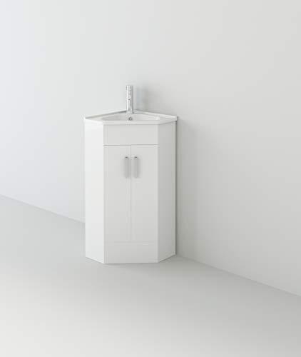VeeBath Linx Armario de baño en Esquina, Mueble de Lavabo de Doble Puerta, 500 x 470 mm, Madera MDF, Blanco