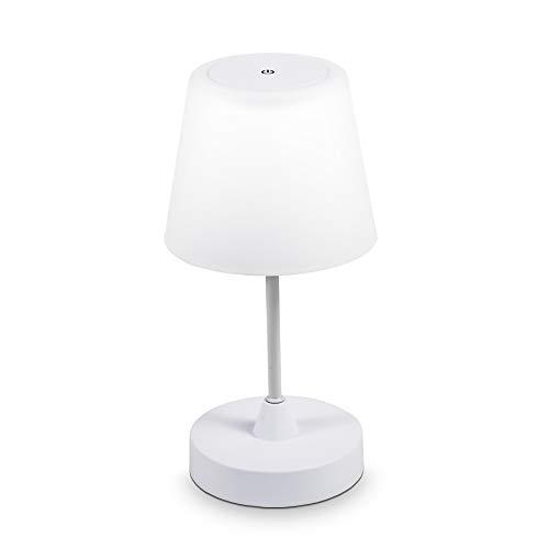 B.K.Licht I LED Außen-Tischleuchte I Kabellos I Wiederaufladbar I Tischlampe IP44 I Akku Gartenlampe I Dimmbar I Weiß