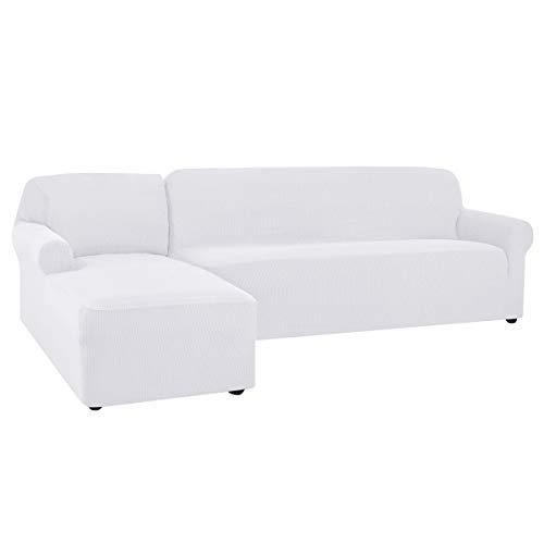 CHUN YI Funda de sofá en Forma de L, Elástica Funda para Sofa en Forma de L, Chaise Longue Protector de Muebles (Chaise Izquierda, Blanco)