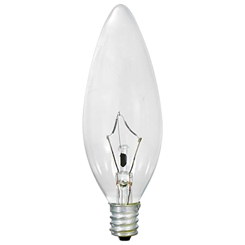 SYLVANIA Incandescent Double Life Candelabra Base Light Bulb, 60W B10 Soft White, Clear Finish, Blunt Tip - 6 Pack (18750)