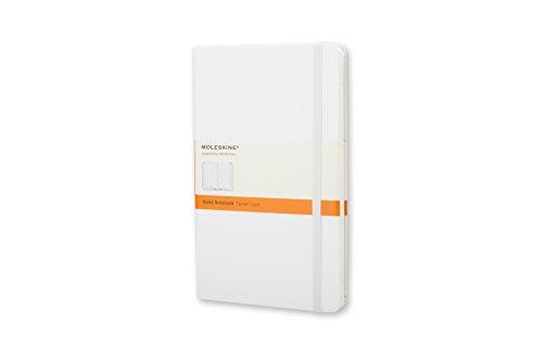 Moleskine MM710WH - Cuaderno Clásico con Páginas Rayadas, Tapa Dura y Goma Elástica, Color Blanco, Tamaño Pequeño 9 x 14 cm, 192 Páginas