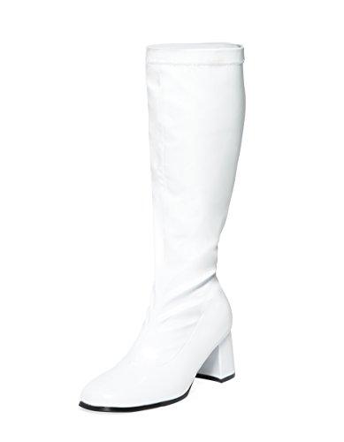 Weiße kniehohe Stiefel – 60er 70er Jahre Fashion Stiefel – weiße GoGoGo-Stiefel – Größen EU 46