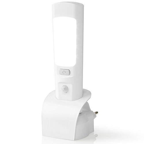 TronicXL nachtlampje, zaklamp, wandlamp met PIR-bewegingsmelder, LED-lamp met schemer- en bewegingssensor 's nachts noodlamp zonder boren, 2-in-1 nachtlamp en handlamp met accu
