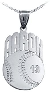 Baseball Sport Charm Personalized with Name and Number - Sterling Silver - Made in USA