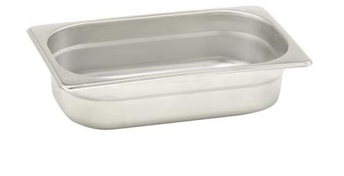 Pentole Agnelli Bassine Gastronorm 1/4, Acier Inoxydable 26.5x16.2x15 cm