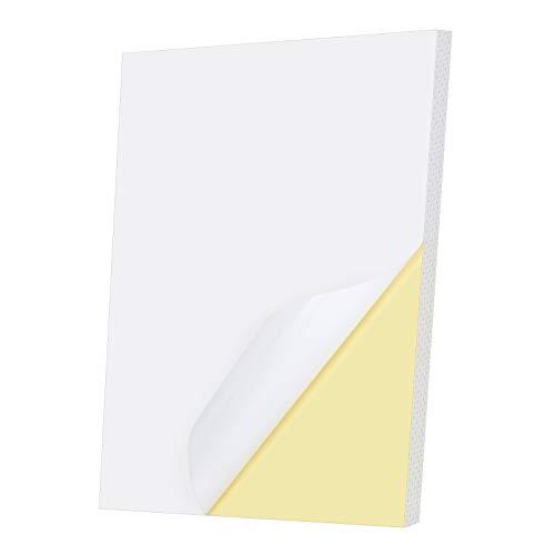 50 Hojas Papel de Pegatina Impresión A4 Etiqueta Adhesiva Papel Adhesivo para Imprimir, Etiquetas Blancas Adhesivas A4 Papel de Pegatina para Imprimir (Blanco, A4)