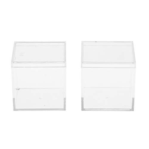 CUTICATE 2pcs Boîte de Rangement en Plastique Boîte à Bijoux Conteneurs de Rangement pour Boucles d'oreilles Etui à Billes Transparent