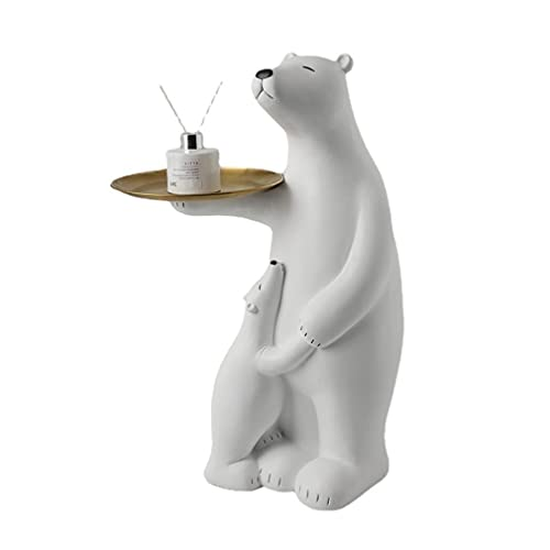 CGBF-Oso Polar con Bandeja de Almacenamiento, Adornos para El Suelo, Escultura de Entrada,Gran Oso Animal Estatua Sofá Mesa Auxiliar para Oficina Decoración del Hogar