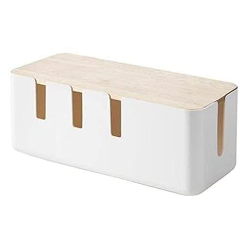 BINGHC Caja Blanca de Almacenamiento Caja de Almacenamiento Escritorio Tira de Enchufe de Alambre línea Cargador Toma de Enchufe Organizador de Acabado con Cubierta de Madera (Color : 01)