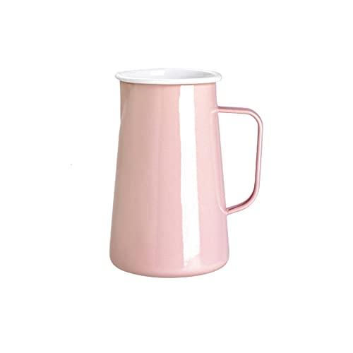 Jarra Agua Hervidor de gran capacidad de la jarra de esmalte de la casa con hervidor multifuncional resistente a alta temperatura con asa (azul / rosa / gris) Jarra para Bebidas ( Color : Pink )
