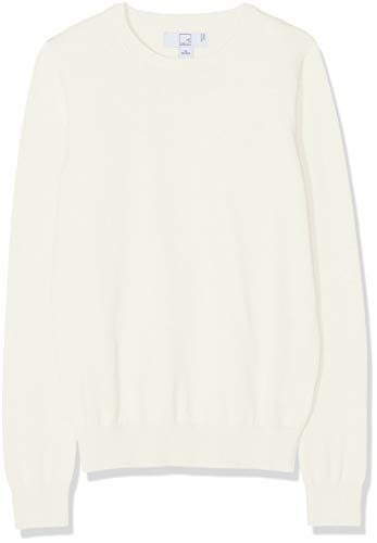 Amazon-Marke: MERAKI Baumwoll-Pullover Damen mit Rundhals, Elfenbein (Ivory), 36, Label: S