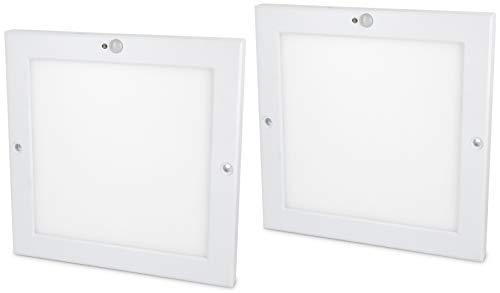 2er Pack - Ultraslim LED Sensor 18W Panel Deckenleuchte - mit Bewegungsmelder + Dämmerungssensor - eingebauter LED Trafo - tagesweiß (4000 K)