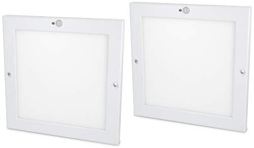 2 stuks - Ultraslim LED-sensor 18W paneel plafondlamp - met bewegingsmelder + schemeringssensor - ingebouwde LED-transformator - warm wit (3000 K)