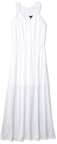 A|X Armani Exchange Women's V Neck Sleeveless Elastic Waist Maxi Dress, White, 2
