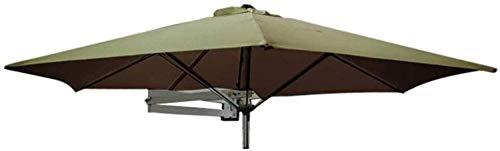 kyman Awares Sun Parasol Umbrella Garden Parasoles Paraguas de Patio montado en la Pared con Poste de Metal - jardín al Aire Libre Balcón balcón basculante Paraguas, 8 pies / 250 cm (Color: Caqui)