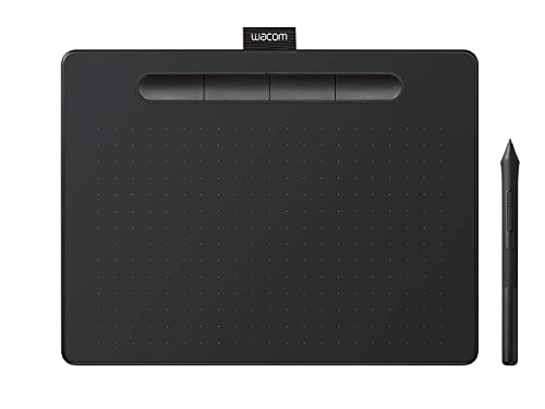 Wacom Intuos Medium Zeichentablett - Tablet zum Zeichnen & zur Fotobearbeitung mit druckempfindlichem Stift schwarz - Ideal für Home-Office & E-Learning