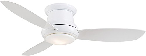 Minka-Aire F519L-WH Concept II 52 Inch Ceiling Fan Flush Mount Ceiling Fan with Integrated 14W LED Light in White Finish