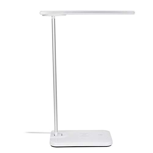Lámpara LED USB, Lámpara de escritorio LED Cargador inalámbrico Luz suave Protege sus ojos de por vida para viajes, trabajo, hogar