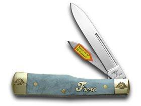 Frost Family 40th Anniversary Blue Smooth Bone 1/600 Gunstock Pocket Knife Knives