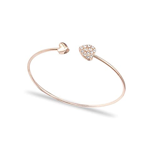 Pulsera para Mujer Pulseras de Plata Esterlina 925 Corazón Cristal Amor Pulsera de Apertura Ajustable Aniversario de Regalos de Cumpleaños Niñas
