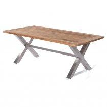 Sonnenpartner Tisch Spectra 200x100 cm Edelstahl und Old Teak Look