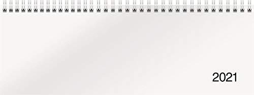 rido/idé 7036501001 Tischkalender/Querterminbuch Modell Sequenz, 2 Seiten = 1 Woche, 297 x 105 mm, Karton-Einband Trucard weiß, Kalendarium 2021, Wire-O-Bindung