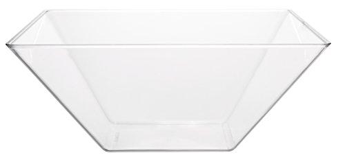 Break Resistant Premium Square Design Clear Acrylic Serving Bowls 63.5 oz - Set of 4, Party Snack or Salad