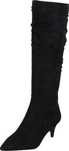 Cambridge Select Women's Pointed Toe Slouch Kitten Mid Heel Knee-High Boot