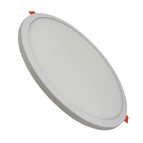 Pack 1 Panel LED redondo plano, 20w, CORTE AJUSTABLE (50-180mm). Color Blanco Frio (6500K). 1800 lumenes.