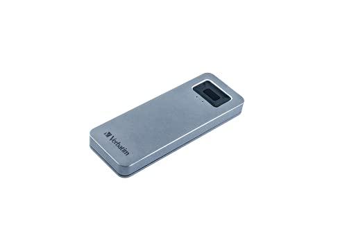 Verbatim Executive Fingerprint Secure SSD - 1 TB - Grau - Externe SSD mit Fingerabdruckscanner - USB 3.0 - SSD extern - für Windows & Mac OS X - USB-C SSD - externes Flash Laufwerk