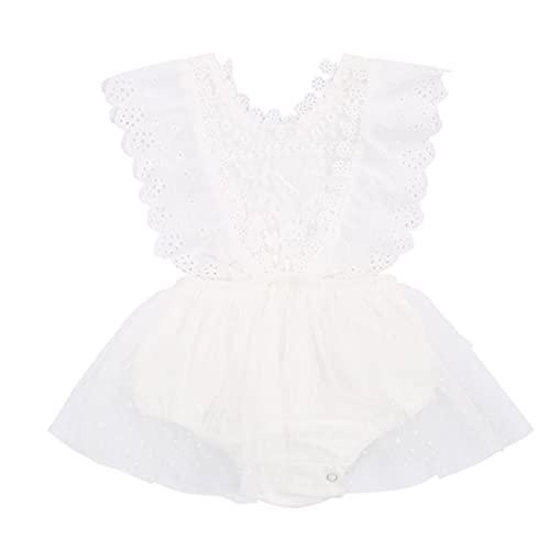 L&ieserram Vestido para niña con tutú bordado de flores y lazo de encaje de encaje de color liso Color blanco. 0- 6 Meses