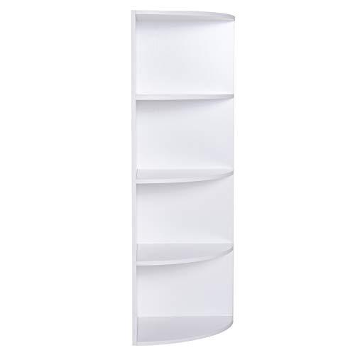 homcom Libreria ad Angolo 4 Ripiani a Muro e Parete Legno 39.5x39.5x120cm Bianco
