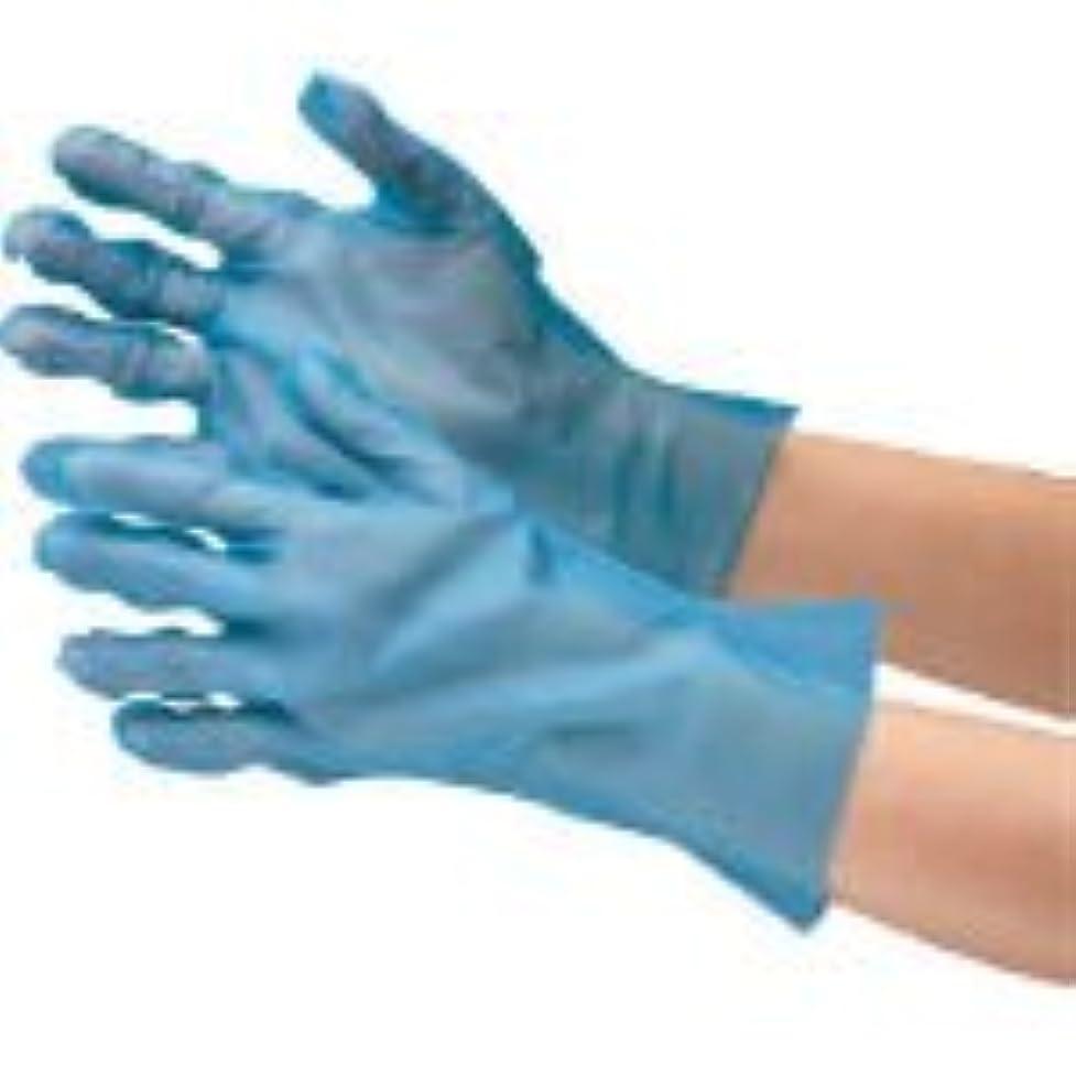 おばさんぬいぐるみ説明するミドリ安全/ミドリ安全 ポリエチレン使い捨て手袋 外エンボス 200枚入 青 M(3915301) VERTE-576-M