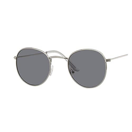 ZZDH Gafas de Sol Vintage Oval Gafas de Sol Mujeres Retro Lente Claro Gafas de Sol Redonda para Mujeres Regalo para Madres (Lenses Color : Silver Gray)