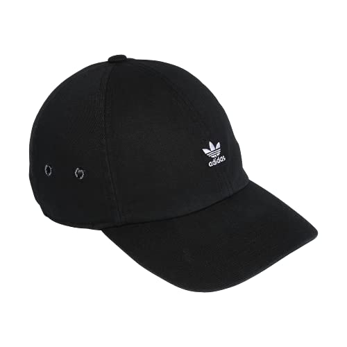 adidas Originals Women's Mini Logo Relaxed Cap, Black/White, ONE SIZE