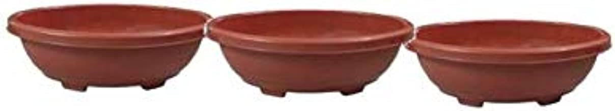 Khoji Oval Bonsai Tray (Brown, 19-inch) - Set of 3 Trays